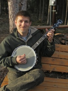 Nathan with his Irish tenor banjo. Sometimes it's even in tune.